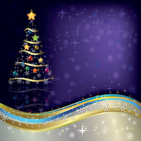 Abstract Christmas greeting with tree on purple Vector