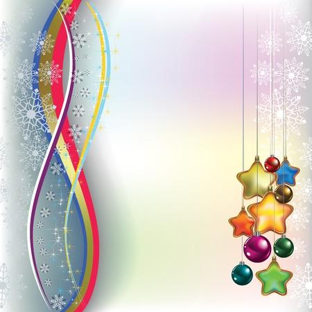 고요한 장면: 크리스마스 빛 배경에 장식 인사말