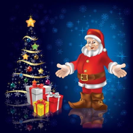 Christmas tree with Santa Claus and gifts on blue Vector
