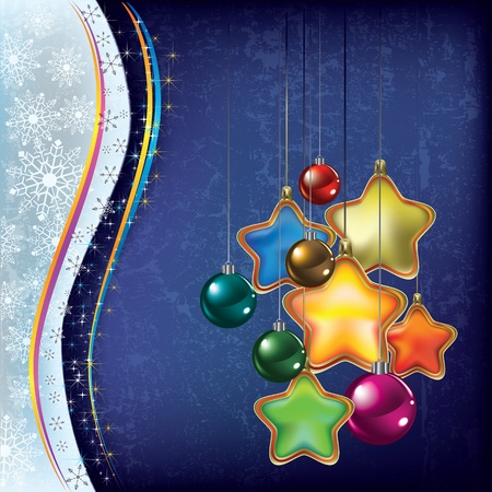 Abstract Christmas background with decorations on blue