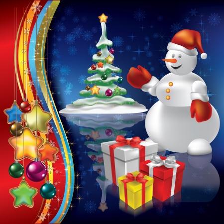 고요한 장면: 블루 눈사람 장식과 선물 추상 크리스마스 배경 일러스트