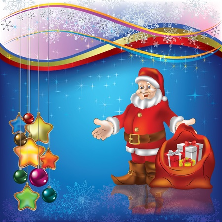 Christmas greeting with Santa Claus and gifts on blue Stock Vector - 10265919
