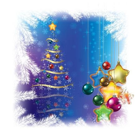 고요한 장면: 파란색 배경에 장식을 크리스마스 트리 일러스트