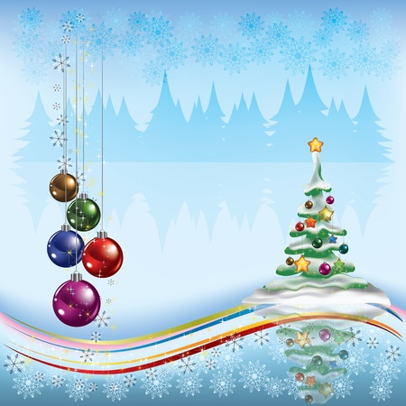 Christmas tree with decorations on light background Stock Vector - 10265923