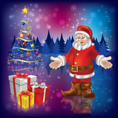 Santa claus with gifts and christmas tree