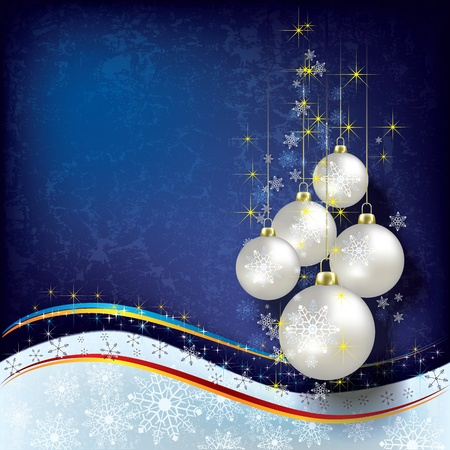 Abstract Christmas background with pearl decorations on blue Vector