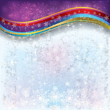 Abstract Christmas background with snowflakes and stars Vector