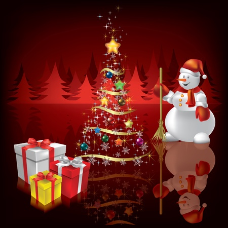 Abstract Christmas background with snowman and gifts on red Stock Vector - 10265924