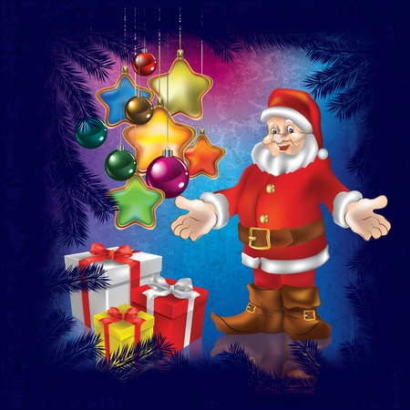 Christmas greeting with Santa Claus and gifts on blue background Vector