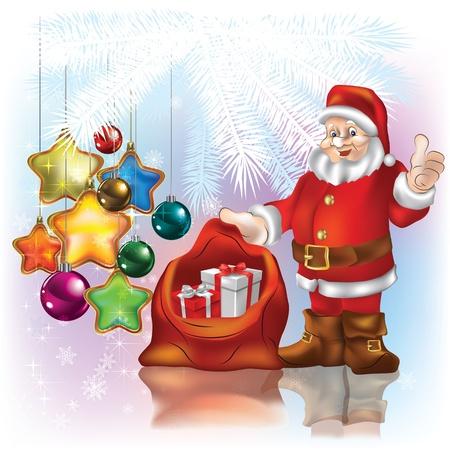 Życzenia świąteczne z Mikołajem na białym tle Ilustracje wektorowe