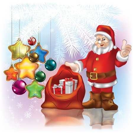 Christmas greeting with Santa Claus on white background Stock Vector - 10265889