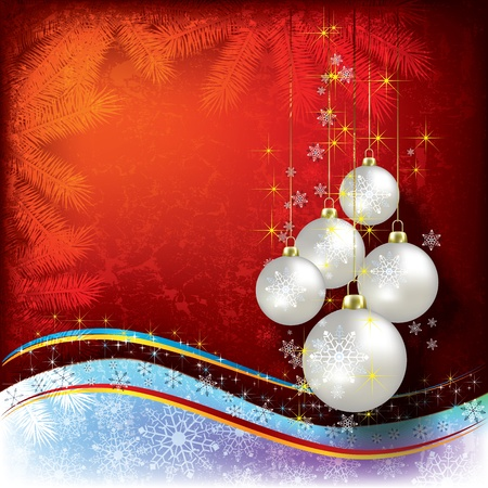 Abstract Christmas background with pearl decorations on red Stock Vector - 10347432