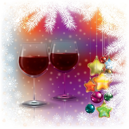 weingläser: Abstract Weihnachten Hintergrund mit Weingl�sern und Dekorationen