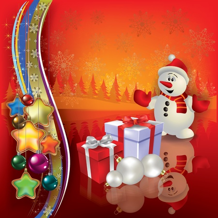 Abstract Christmas greeting with snowman and gifts Stock Vector - 10347427