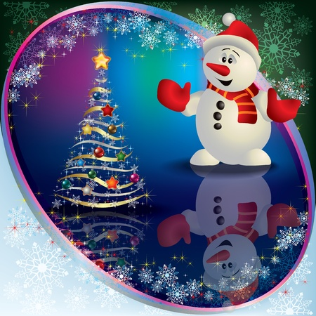 Abstract Christmas greeting with snowman and tree Vector