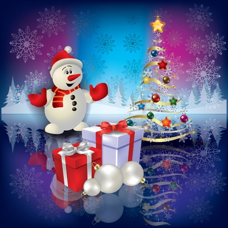 Abstract Christmas greeting with snowman tree and gifts Vector