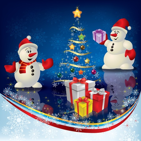imagery: Abstract Christmas greeting with snowmans and gifts on blue Illustration
