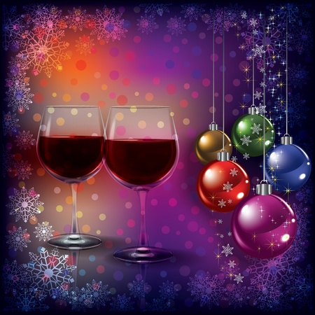 Abstract Christmas greeting with wine glasses and decorations Stock Vector - 10347426