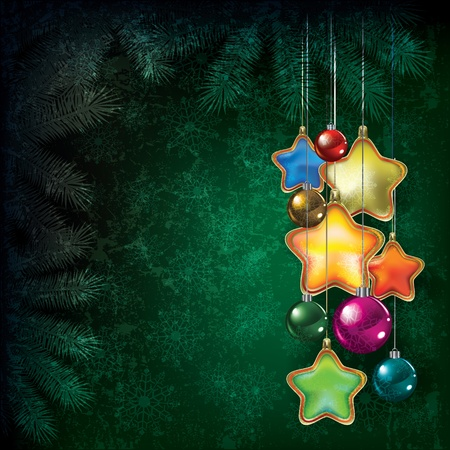 peaceful scene: Abstract Christmas grunge background with color decorations Illustration