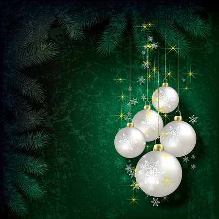 Abstract Christmas grunge background with pearl decorations on green Vector