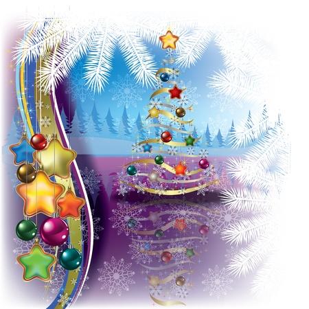 고요한 장면: 크리스마스 트리 및 장식 추상 인사말