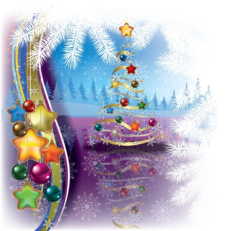 peaceful scene: Abstract greeting with Christmas tree and decorations