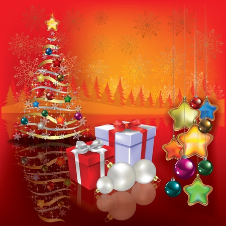 Abstract greeting with Christmas tree and gifts Stock Vector - 10347434
