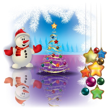Abstract greeting with Christmas tree snowman and decorations Stock Vector - 10347437