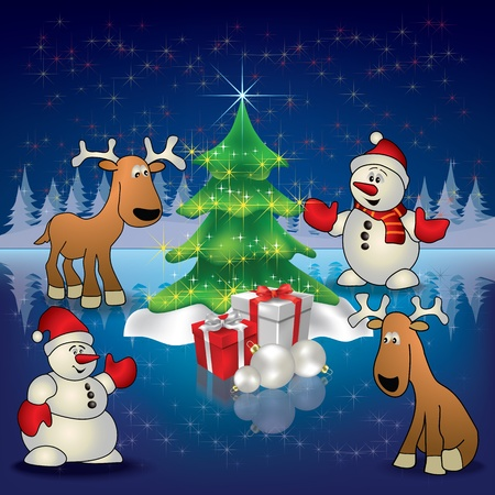snowman background: Abstract Christmas blue greeting with deers snowmen and tree Illustration
