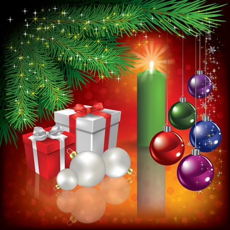 Abstract Christmas greeting with gifts and candle Illustration