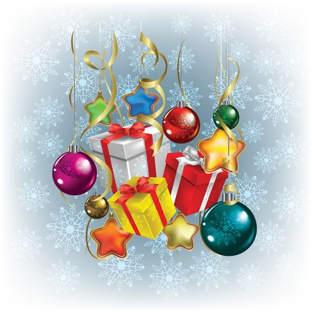 고요한 장면: 선물 및 장식 추상 크리스마스 인사말 일러스트