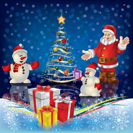 colour image: Abstract Christmas greeting with Santa and snowmen