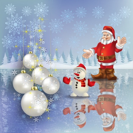Abstract Christmas greeting with Santa snowman and decorations Stock Vector - 10399360