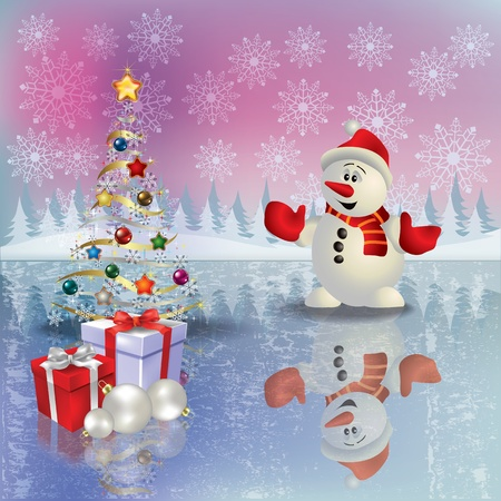 snowman background: Abstract Christmas greeting with snowman and gifts Illustration
