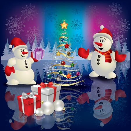 Abstract Christmas greeting with snowmans tree and gifts Vector