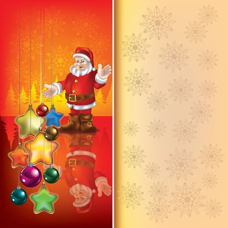 Abstract Christmas red greeting with Santa Claus Vector