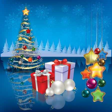 peaceful scene: Abstract greeting with Christmas tree and gifts on blue