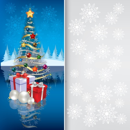 Abstract grey blue greeting with Christmas tree and gifts Illustration