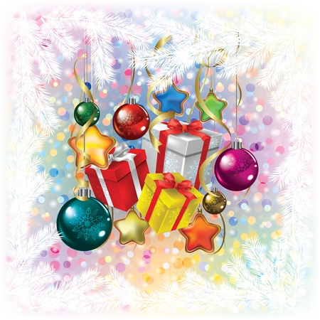 Abstract Christmas greeting with decorations and gifts on white Vector