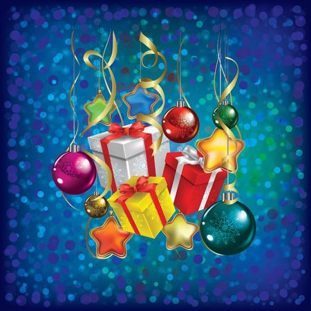 Abstract Christmas greeting with gifts and decorations on blue Vector