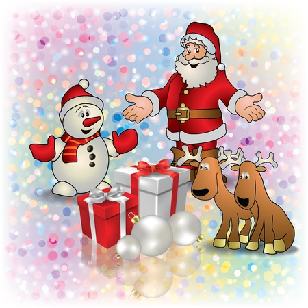 Abstract Christmas white greeting with Santa deer snowman and gifts Illustration
