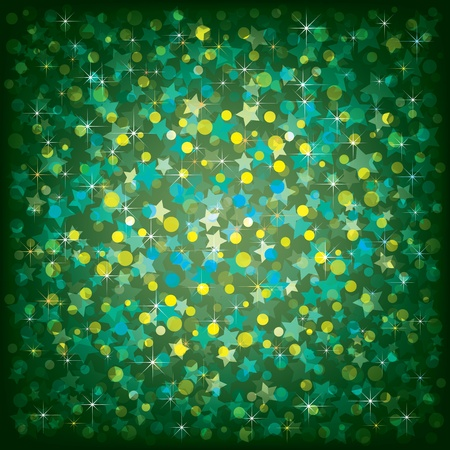 large group of objects: Abstract Christmas green background with stars and confetti