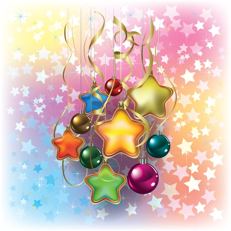 Christmas decorations and ribbons on stars background Vector