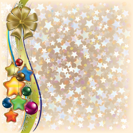 Abstract Christmas beige background with decorations and bow Vector