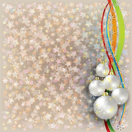 Abstract Christmas beige background with white decorations Vector