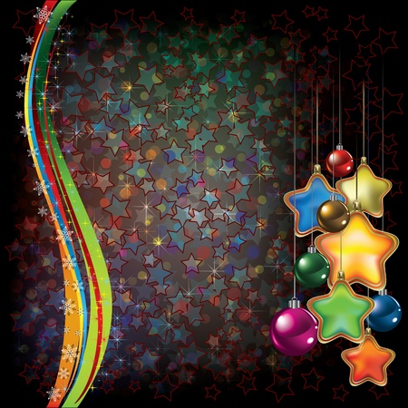 Abstract Christmas black background with color decorations Vector