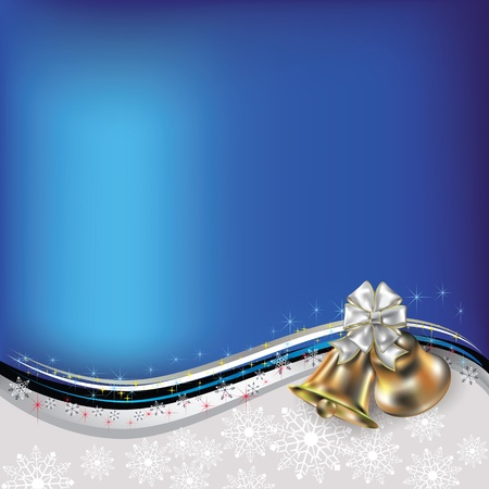 church bell: Abstract Christmas blue white greeting with bells and bow
