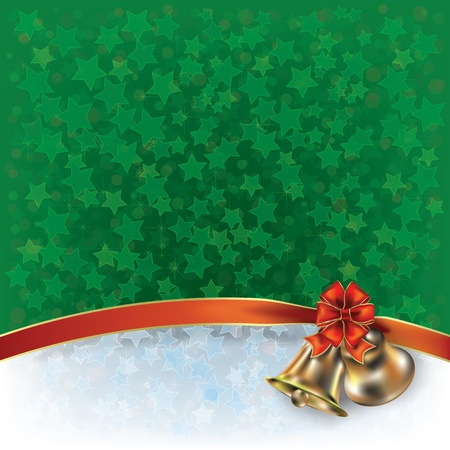 Abstract Christmas green greeting with bells and bow Vector