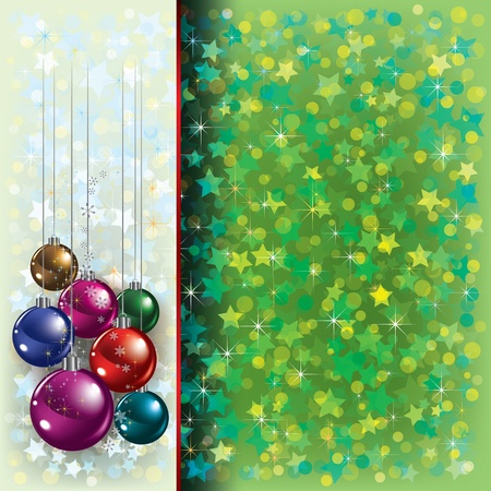 Abstract Christmas green greeting with decorations on white Stock Vector - 10460280