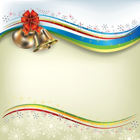 Abstract Christmas greeting with bells and bow Vector
